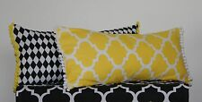 Oblong Cushion Covers Rectangle Monochrome Geometric Bolster Yellow ~Black White