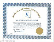 Riviera School of Gaming Dip loma Certificate Hotel Casino Las Vegas NOS #a