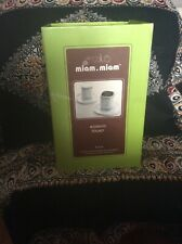 miam.miam Stainless/Porcelain Espresso Cups 4 oz Coffee Cup, Lid and Saucer Set.