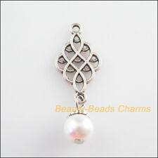 10Pcs Tibetan Silver Tone White Glass Round Beads Knot Charms Pendants 14x37mm