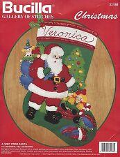 Bucilla felt stocking kit Visit From Santa Christmas crewel 33188