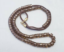 Brown Faceted Glass Tube Beaded Long Strand Modern Gold Tone Necklace