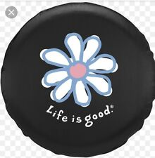"BRAND NEW VINTAGE BLUE WHITE DAISY 33"" LIFE IS GOOD SPARE TIRE COVER JEEP NWT"
