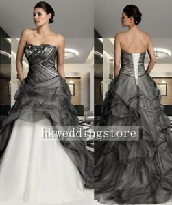 New Black & White Symmetry Pleated Lace Up Wedding Dress Ball Gown Custom Size