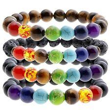 7 Chakra Healing Balance Beaded Bracelet Lava Yoga Reiki Prayer Xams Stone
