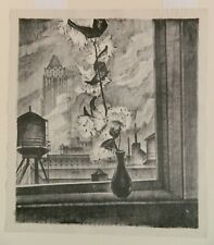 """Todros Geller, American, """"Milkweed and Chicago Skyscrapers"""" Lithograph, 1937 WPA"""