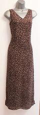 PLANET Brown Khaki V Neck A-Line Style Maxi Dress Open Side Legs size 8