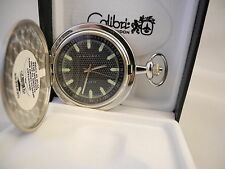 COLIBRI SILVERTONE BLACK FACE  POCKET WATCH WITH LUMINUS MARKERS NEW REDUCED