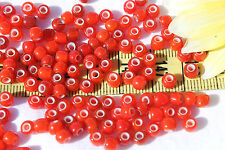 5/0  Vintage French Trans Mixed Lt. & Med. Red White Heart Seed Beads/1oz