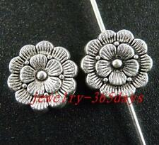 40pcs Tibetan Silver Nice Flower Round Spacers 12x4mm ZN28040