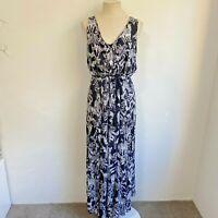 City Chic Size L 20 Maxi Dress Black White Zebra Print Plus Size Tassels Long