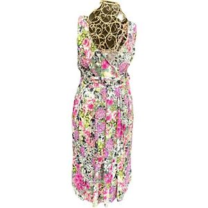 new look Multicoloured Dress 14 Floral Sleeveless Belt Fit Flare Crossover Front