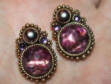 Estate - Stephen Dweck Purple Quartz, Pearl Sterling Clip-On Earrings - Elegant