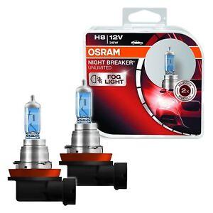 2 AMPOULES H8 OSRAM NIGHT BREAKER UNLIMITED 110% D'ECLAIRAGE EN PLUS 12V