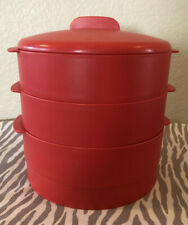 Tupperware Multi Server Steamer Veggie Round Steamer Red New