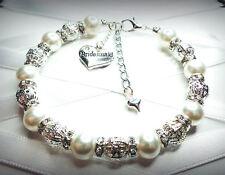 Personalised charm bracelet bridesmaid mum niece  wedding favour free gift bag