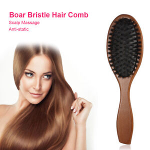 New Natural Boar Bristle Oval Anti-static Paddle Comb Scalp Massage Hair Brush
