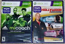 XBox 360 Game Lot - KINECT Adidas MiCoach (New) Hollywood Workout (New)