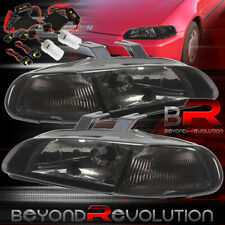 For 92-95 Honda Civic Hatchback/Coupe Smoked Headlights 1 Piece + H4 8K Hid