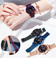 Women Starry Sky Watch Magnet Strap Free Buckle Stainless Steel for Lady Gift