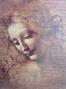 A3 LEONARDO DA VINCI poster HEAD of YOUNG WOMAN National Gallery exhibition