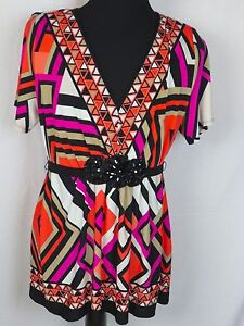 R&M Richards Women's 20W Colorful Blouse Top Tunic Padded Shoulders