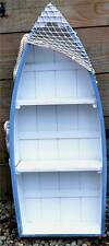 73cm WOODEN PALE BLUE & WHITE ROWING BOAT SHELVES Nat Anchor Seaside Shelf Unit