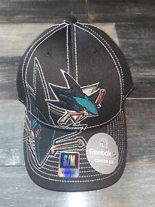 Men's San Jose Sharks Reebok Black Draft Cap Fitted Hat NWT S/M