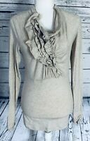 Cabi Women's Small Blouse Long Sleeves V Neck Ruffle Sodt Cinched Wrists