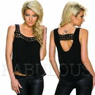 New Women's Sleeveless Crochet Trim Summer Top Loose Fit Blouse Size 10 12 M L