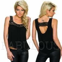 New Women's Sleeveless Crochet Trim Summer Top Loose Fit Blouse Size 10 12 M L