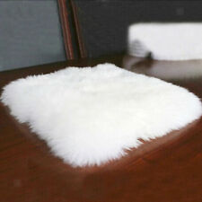 Artificial Sheepskin 45cm Square Rug Super Soft Shaggy Seat Cushion-White