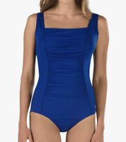 NWT Speedo Women's Swimsuit One Piece Endurance+ Shirred Tank Blue Size 12