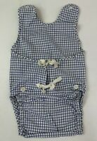 Vintage Baby Boy Outfit Infant Blue Check Plaid One Piece Romper Ties 0-6 Month