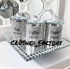 Crushed Diamond Silver Crystal Filled Tea Coffee Sugar Canisters Jars Storage UK