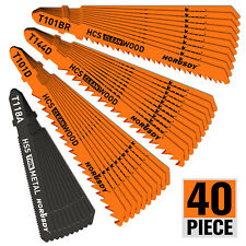40Pc T-Shank Jig Saw Blade Set Metal & Woodworking Hss/Hcs Assorted Storage Case