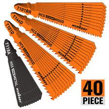 40Pc T-Shank Jig Saw Blade Set Metal & Woodworking Hss/Hcs Assorted Storage Case