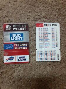 2018 Buffalo Bills NFL Bud Light plastic card w keytag football pocket schedule