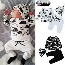 Newborn Infant Baby Girl Boy Cloud T Shirt Tops+Pants Outfits Clothes Set USA