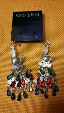 Dangling Goldtone Peacock Pierced  Earing Multi Colored Beads