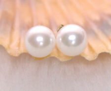 AAA 6-7mm Natural Saltwater Round Pearl Earrings for Women 14k Solid Gold Stud