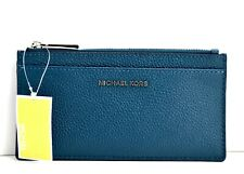 Michael Kors Money Pieces Womens Slim Large Coin Card Case Holder Wallet Teal