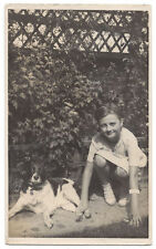 Young Girl with Pet Dog in the Garden RP Postcard, Unused
