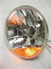 "Street Hot Rat Rod 7"" Tri Bar Blue Dot H4 Headlight w/ Amber Turn Signal 12v"
