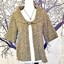 KIM ROGERS Womans LIGHTWEIGHT Vintage GRAY One Button Open Face Sweater size M