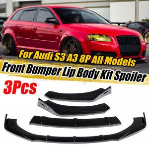 3x Glossy Black Car Front Bumper Lip Spoiler For AUDI A3 A4 A5 Q3 8P 5 S3 S4 TT