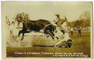 Charlie Johnson Thrown from Wild Steer, Rodeo, Cowboy 1923 RPPC