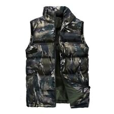 Men Winter Thick Vest Padded Cotton Quilted Sleeveless Jacket Warm Waistcoat Coa