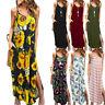 Women Summer Casual Pockets Strappy Long Dress Beach Cami Split Maxi Dress