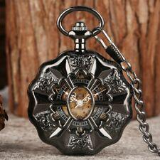 Pumpkin Shaped Case Hand-winding Mechanical Pocket Watch Skeleton Dial Chain